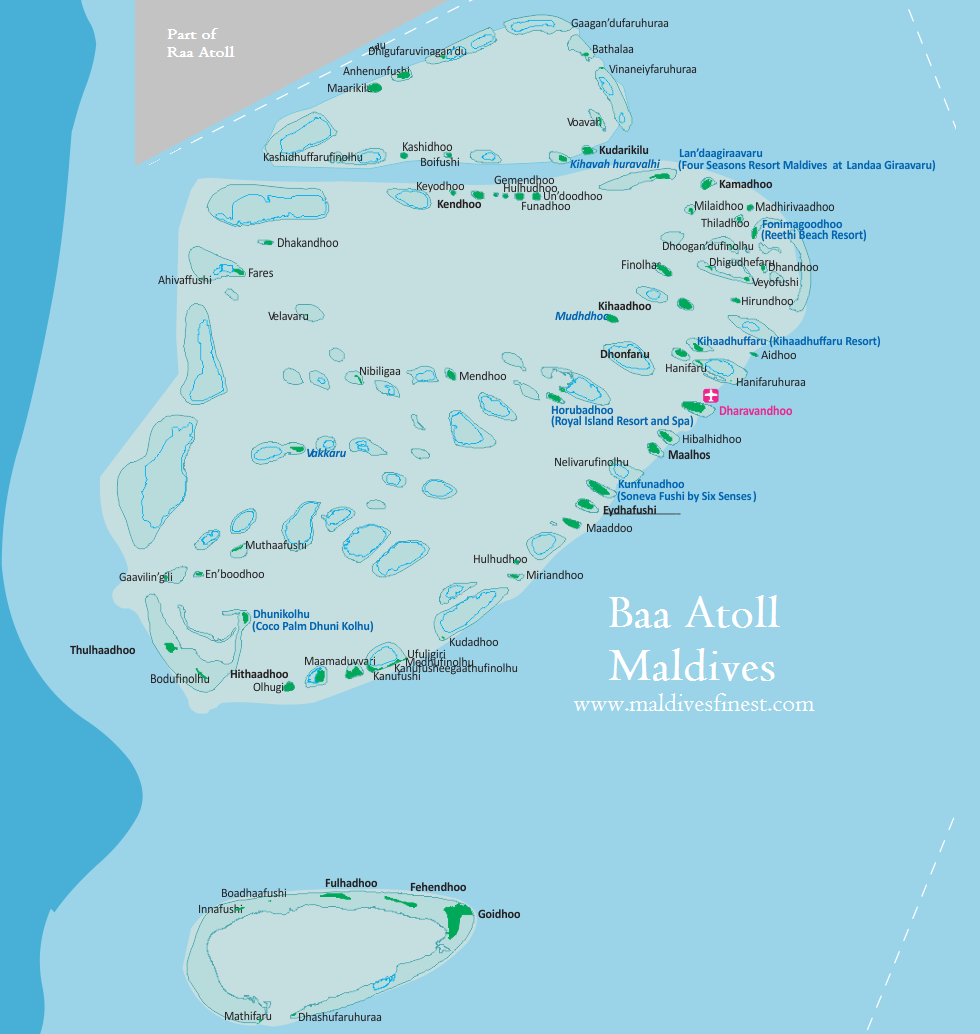 Map of Baa Atoll Maldives and Attractions  Maldives Map Org