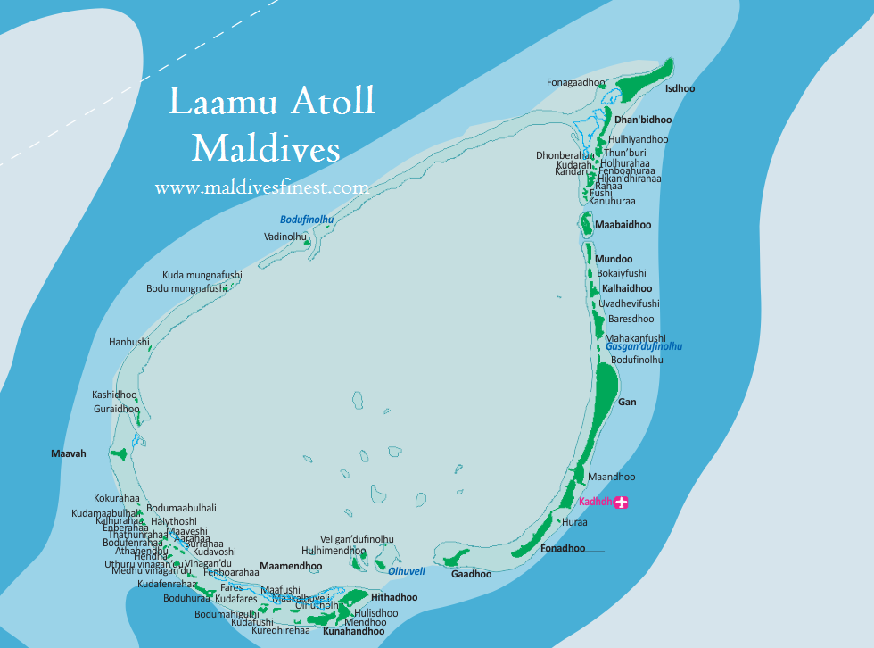 Laamu Atoll Maldives with all resorts Maldives Map Org