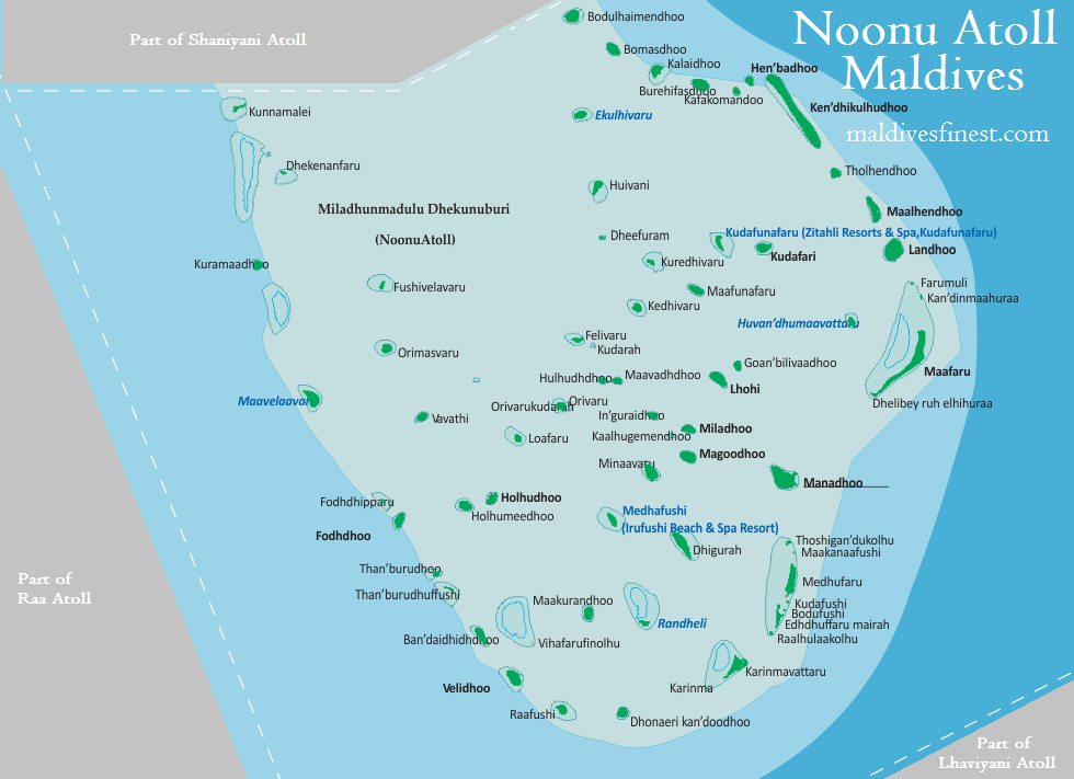 Noonu Atoll map with all local islands Maldives Map Org