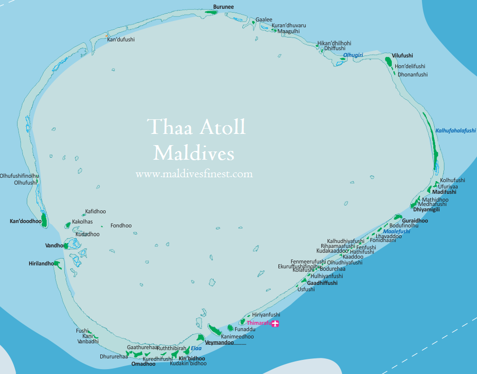 Thaa Atoll map with all islands Maldives Map Org